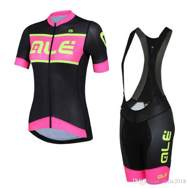 High quality ALE 2017 Women short sleeve Cycling jersey bib shorts set triathlon MTB bicycle clothes Maillot ropa ciclismo+9D gel pad