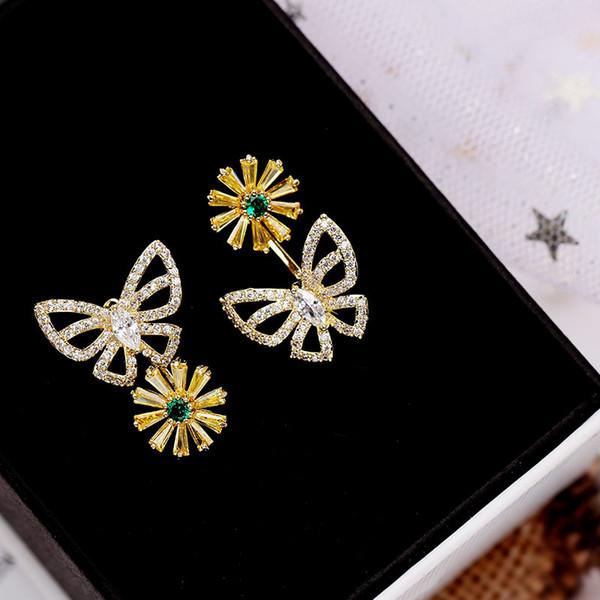 Korea Fashion 925 Silver Earring For Female Fashion Flower Chrysanthemum Butterfly Ear Stud Women CZ Stone Brand Jewelry