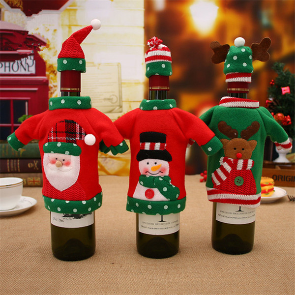 Christmas Yard Decorations Patterns.Christmas New Year Wine Decoration Cute Elk Pattern Wine Bottle Cover Sweater With Hat Home Party Table Decorations Christmas Yard Decoration