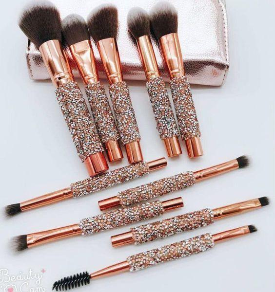 Free Shipment NEW 10pcs/set Professional Diamond Brushes Set Fundation Powder Cream Blush Glitter Brush Kit Beauty Tool For Women Gifts