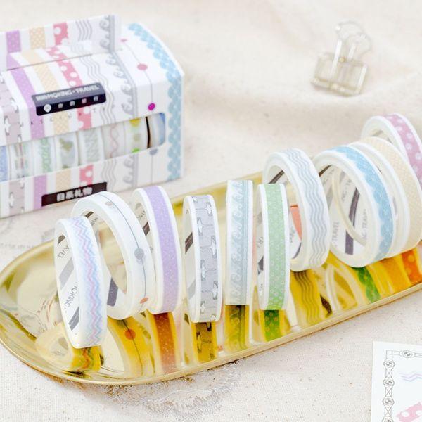 10 Pcs/Box Narrow Lace edge washi tape DIY decorative scrapbook planner masking tape adhesive stationery School Suppplies 2016