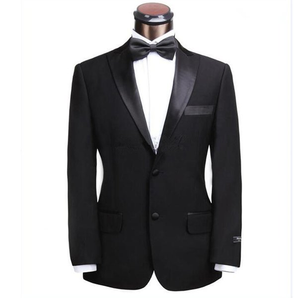 Custom black gentleman men's suit two-piece suit (jacket + pants) men's business casual gun collar collar two button suit