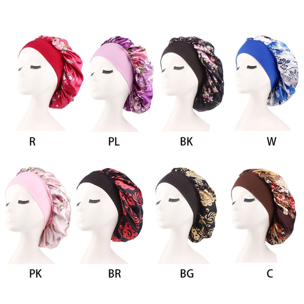 BG/_ KF/_ Women Muslim Satin Hijab Solid Color Cancer Chemo Hat Sleeping Cap Beani