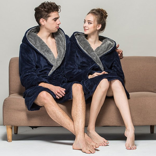 Winter Lovers Flannel Bathrobe Thermal Hooded Thick Solid Warm Winter Bath Robes Dressing Gown Women Men Nightgown Home Clothes