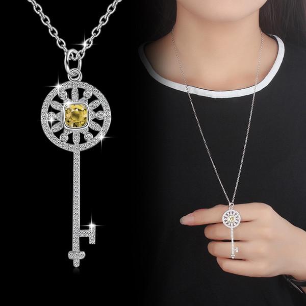 Agood cadena de suéter chapado en plata de alta calidad largo CZ diamantes colgantes collares para las mujeres