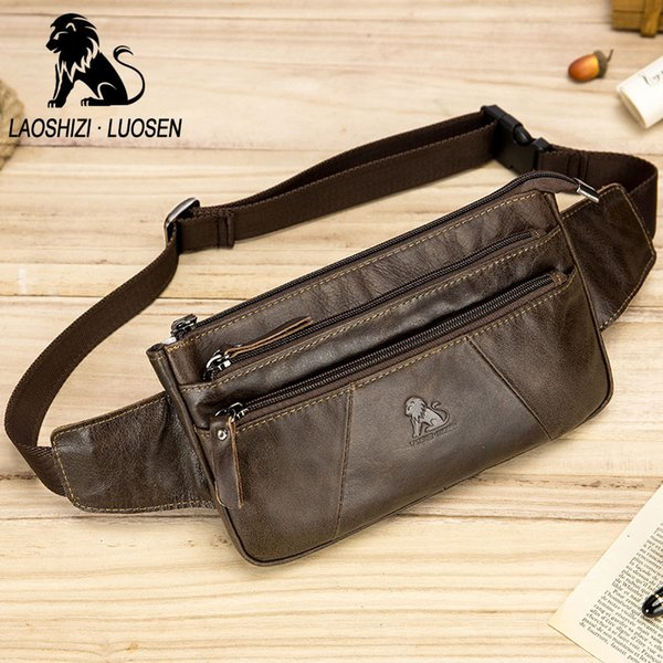 LAOSHIZI LUOSEN New Men Waist Bag For Phone Genuine Leather Casual Small Men's Bag Purse Fanny Pack Belt Motorcyclist Bags Pouch