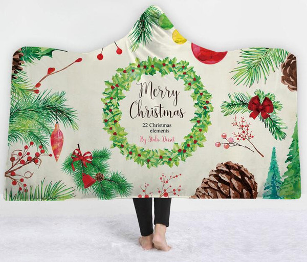 Christmas Fleece.Wearable Hooded Blanket Christmas Throw Blanket Fleece Cartoon Wearable Blanket With Hat Xmas Decoration 150 200 Cm White Fuzzy Throw Blanket Bright