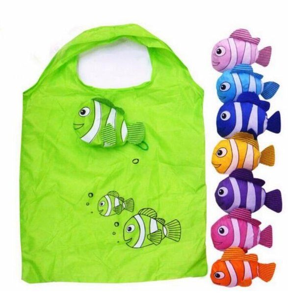 top popular Hot New 7 Colors Tropical Fish Foldable Eco Reusable Nylon Large Bags Shopping Bags 38cm x58cm 2019