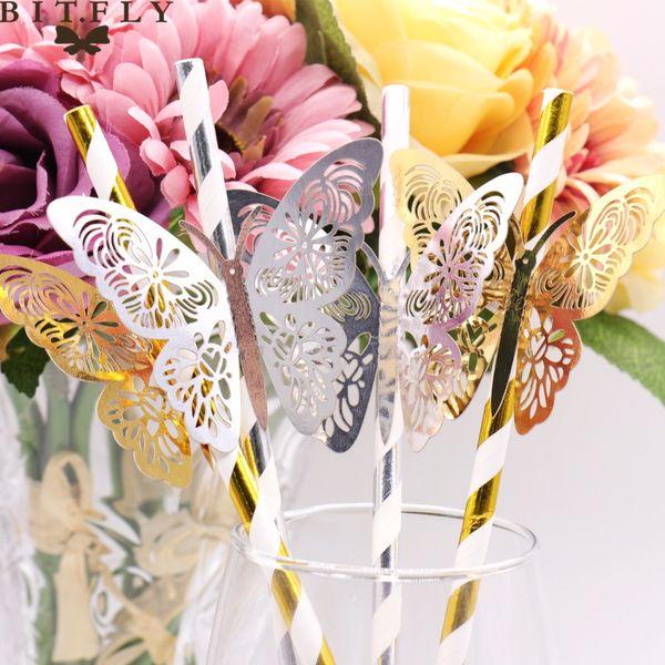 Event Party Holiday DIY Décorations De Noce Décoration 25pcs or argent Rayé De Paille et 3D PVC Papillon pour DIY wendding anniversaire
