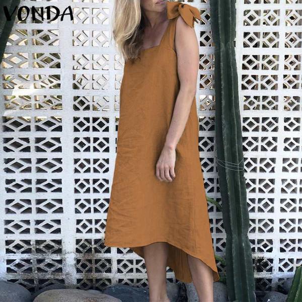 VONDA Donna Cotton Party Dress 2018 Estate incinta Casual allentato colletto quadrato senza maniche asimmetrico maternità Plus Size Vestido