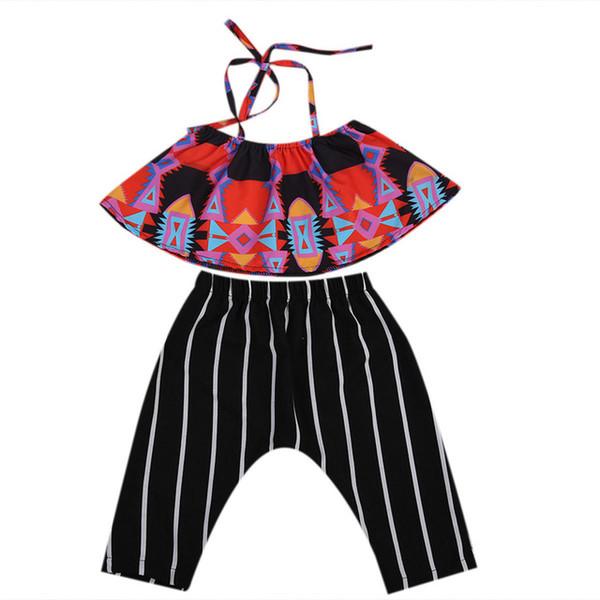 2018 Boutique D'été Filles Set Infantile Enfants Vêtements Bébé Filles Boho Crop Tops + Sarouel Rayé 2PCS Costume Enfants Toddler Filles Vêtements