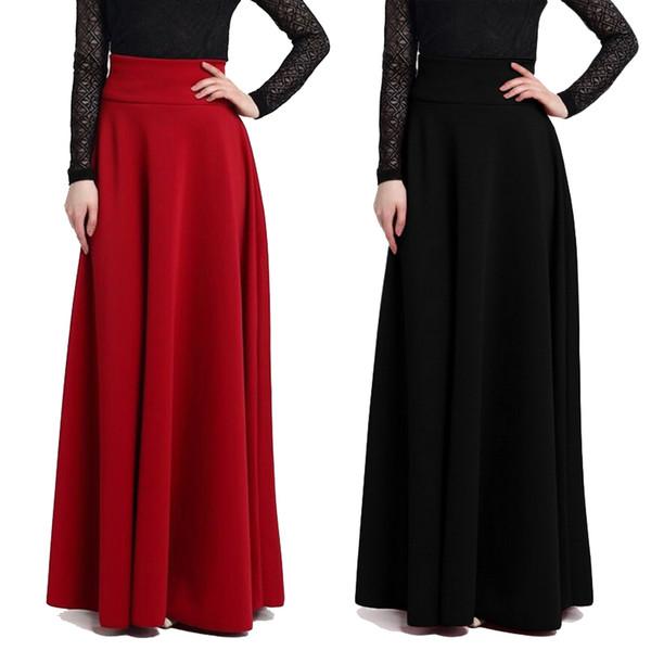 aab3e70795f Elegant High Waist Pleated Skirt Women Faldas Saia Plus Size Long Swing  Skirt