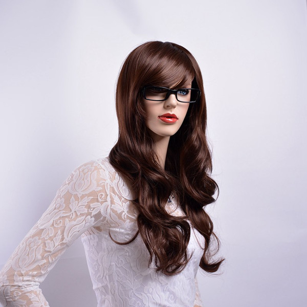 Xiu Zhi Mei Long Wavy Brown Color Wigs with Bangs Natural Full Hair Synthetic Wigs for Women Heat Resistant Fiber