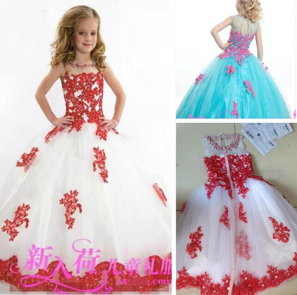 best selling New Arrival Lace Toddler Spaghetti White And Red Tulle Beaded with Handmade Pageant Dresses for Girls Free Shipping