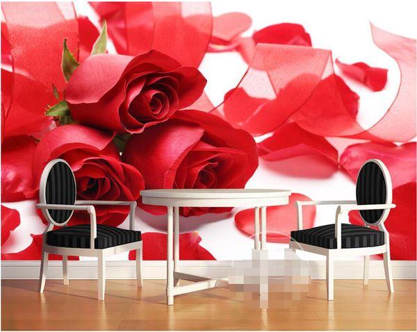 Compre 3d Mural Wallpaper Home Decor Fotografía De Fondo Red Rose Petal Wedding Dress Cuarto De Baño Mural De Pared Para La Sala De Estar A 181 Del