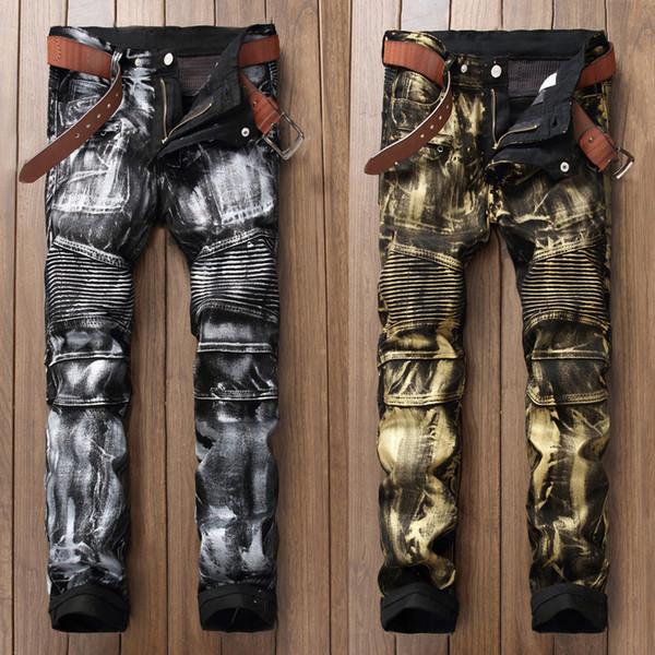 Mode Streetwear Hommes Jeans Punk Style Night Club Doré Argent Peinture Jeans Imprimé Hommes Slim Fit Marque Biker Long Pantalon