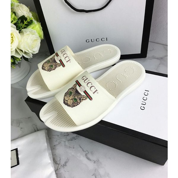 a8f6f2add80 Top Quality Men Women Letter Bee Tiger Cat Couples Shoes Genuine Leather  Graffiti Printing Flat Slippers