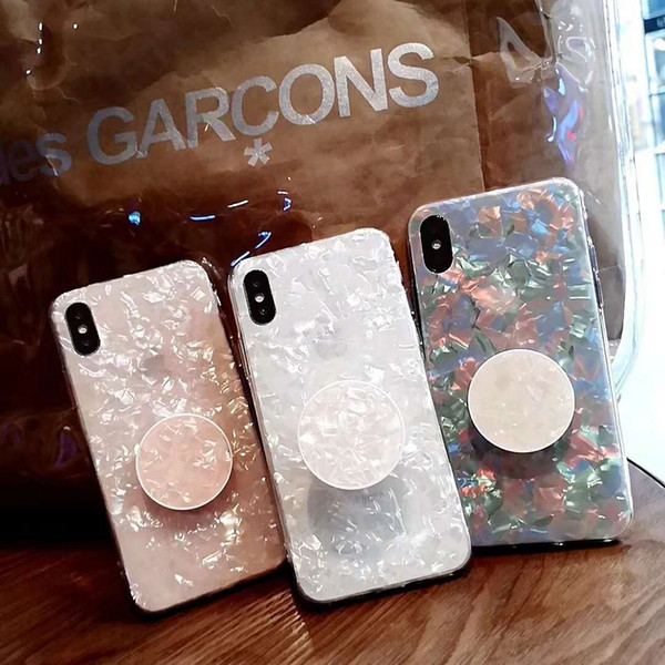 Seashell Pattern Fashionable TPU Shock-Absorption Crystal bling Bumper Case with Kickstand Holder for iphone X/6/7/8 Plus