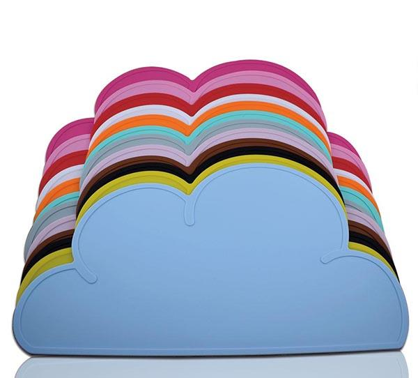 Silicone Cloud Shape Placemat Washable Baby Kids Plate Mat Table Utensil Mat Set Home Kitchen Pads Multi Colors