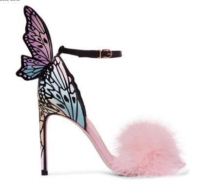 2018 Pembe Tüy Stiletto Topuklar Kadın Pompaları Kelebek Kanatları Gelin Düğün Ayakkabı Ayak Bileği Toka Askı Yüksek Topuklu Sandalet