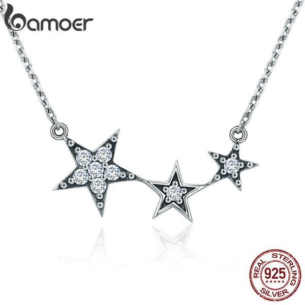 BAMOER Genuino 100% 925 Sterling Silver Luminous CZ Star Secrets Collares pendientes para Las Mujeres Joyería de Plata Esterlina Regalo SCN215 X912