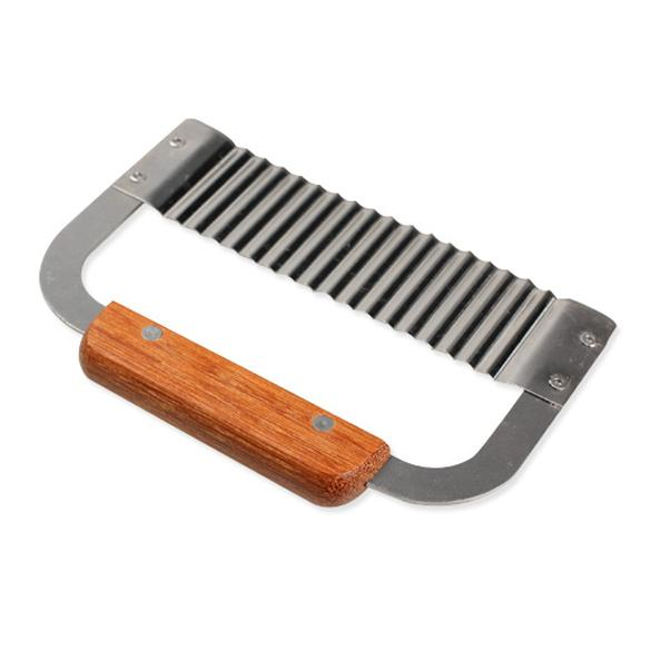 Hardwood Handle Crinkle Wax Vegetable Soap Cutter Wavy Slicer Stainless Steel Kitchen Tools Wavy Soap Cutter E5M1