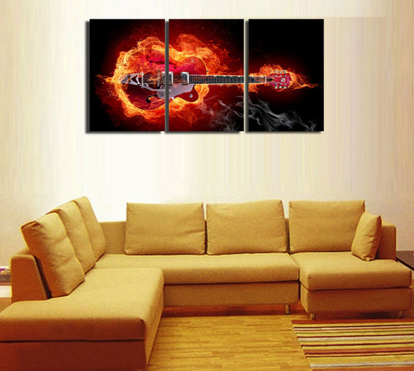3Panels,Flame guitar,Home Modern Canvas Oil Painting Print Wall Art Decor for Living Room Home Decoration Framed/Unframe