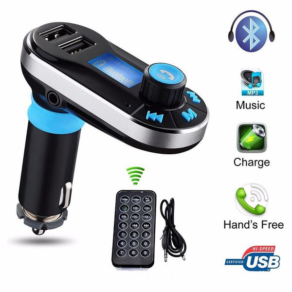 Car FM BT66 Transmisor Bluetooth manos libres LCD Reproductor de MP3 Kit Adaptador de radio Cargador Smart teléfono móvil con paquete al por menor OTH755