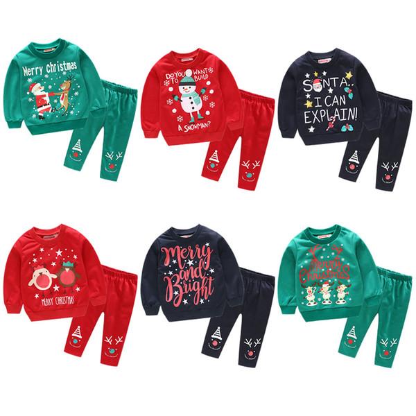 Neonati Vestiti Bambino Neonata Vestiti Ragazzo Babbo Natale Natale pupazzo di neve Cervi Tops + Pantaloni Bambini Abiti Abbigliamento per bambini Set
