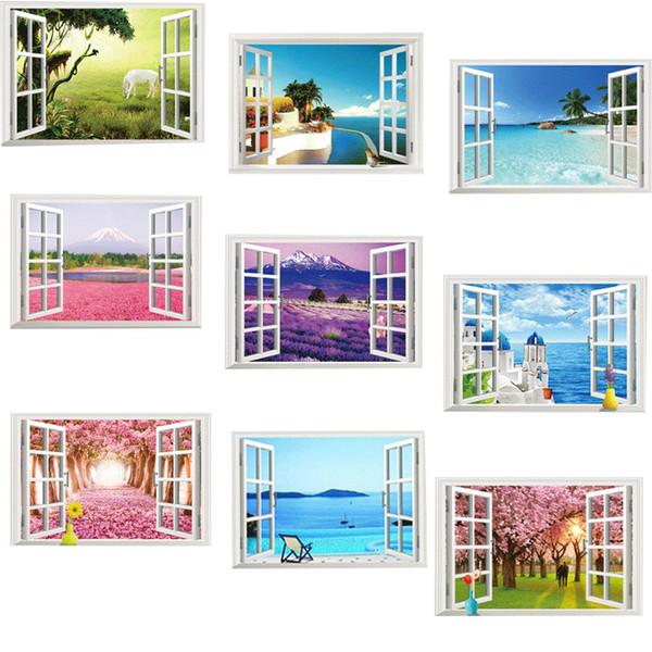 3d etkisi Pencere Görünüm Sahne Duvar Sticker Oturma odası Yatak Odası Duvar Çıkartmaları Ev Dekor at kağıdı Poster Duvar