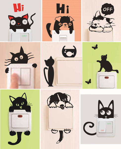 DIY Funny Cute Black Cat Dog Rat Mouse Animls Switch Decal Wall Stickers Home Decals Bedroom Kids Room Light Parlor Decor