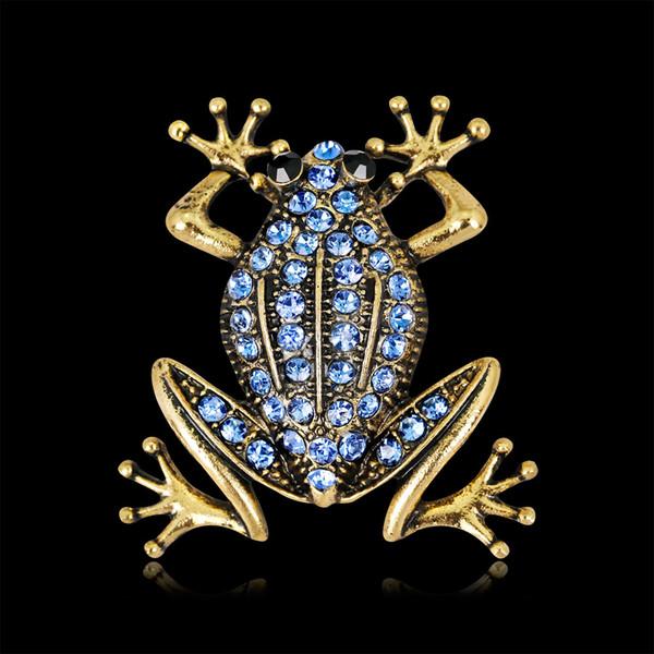 Wholesale Blue Gem Frog Pin Brooch Designer Brooches Badge Metal Enamel Pin Broche Women Luxury Jewelry Wedding Party Decoration