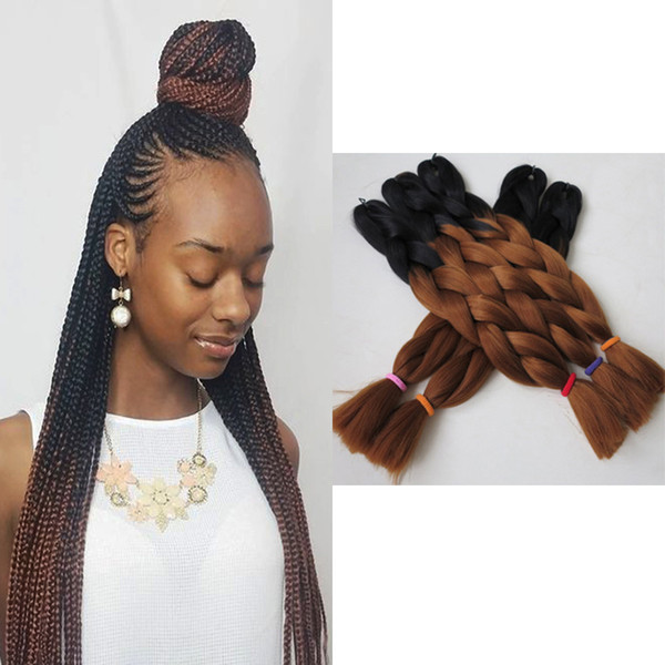 top popular Xpression Braiding Hair Kanekalon High Temperature Ombre Braids Hair Two Tone Color Expression Braiding Hair Synthetic 1B 33 Ombre Brown 2019
