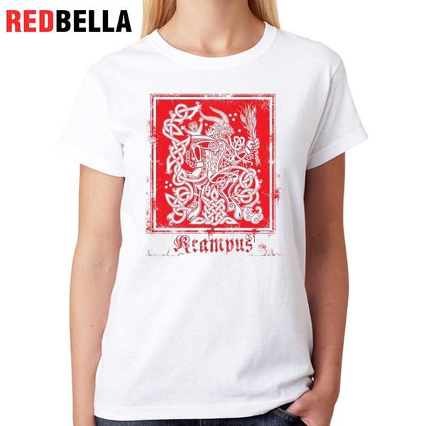 Women's Tee Redbella Tees Women Vintage Art Krampus Design Cool Punk Hipster Red Graphic Painting T-shirt Vrouwen Cotton Woman Tshirt Top