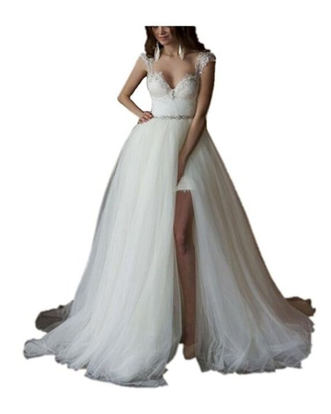 Glamorous Sweetheart White Lace Detachable Wedding Dresses 2018 Cap Sleeves Bridal Wedding Gowns Bride Robe De Mariage Vestidos De Noiva
