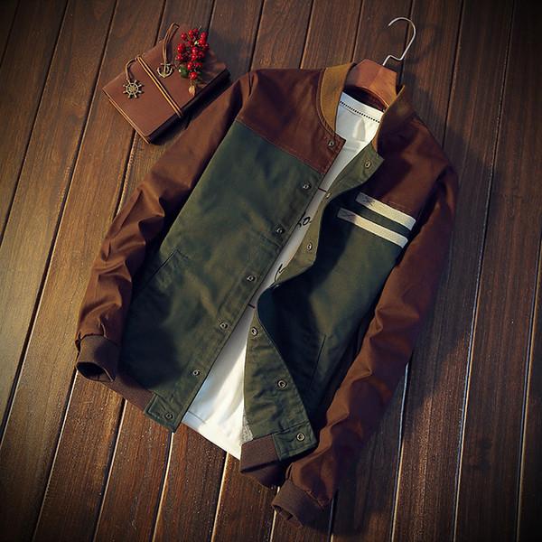 Mens jaqueta de beisebol de algodão fino biker motocicleta casaco outwear venda quente windbreaker verde e marrom frete grátis