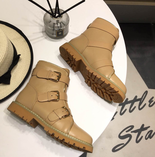 Buckled Ankle Boots For Womens Side Zip Lace-Up Leather Boots Suede Low Heel Round Toe Gold-Tone Hardware Martin Shoes Luxury Brand 8