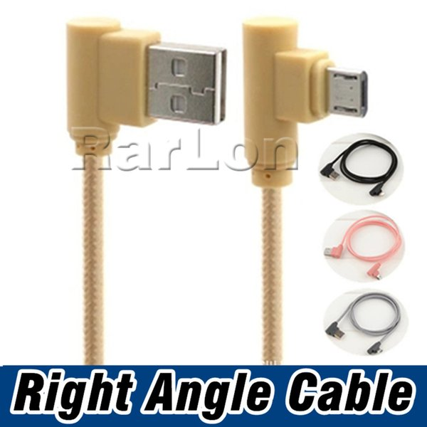 90 Degree Right Angle TYPE C Micro USB Braided Cable 2A Fast Charging Charger Cord 1M Bend Connector Wire For Samsung LG Goophone