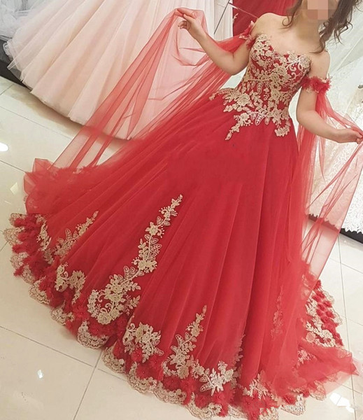 2019 New Gorgeous Design Red and Gold Wedding Dress Ball Gown Off Shoulder 3D Flowers Appliques Lace Bridal Gowns Custom Made