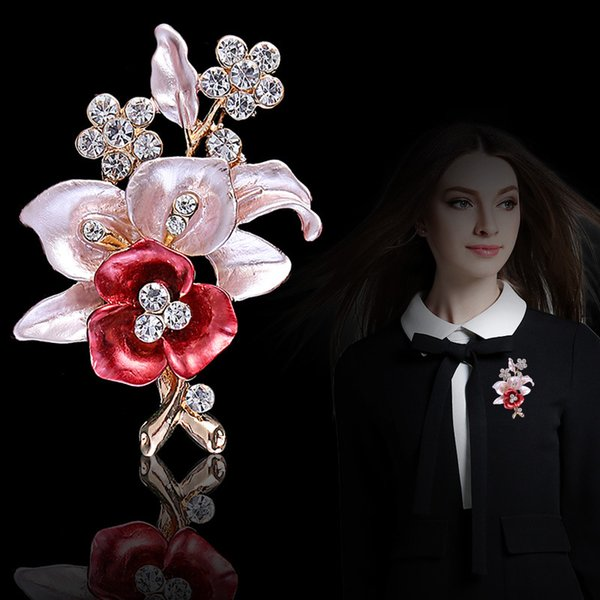 Mother's day gift ornaments high-grade flower brooding brooch in Korea pure hand dripping oil brooch collar needle