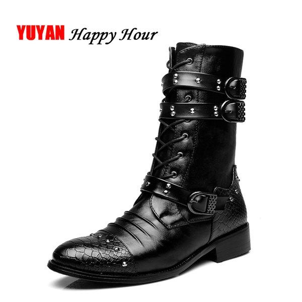 Männer Schuhe Aus Weichem Leder Herbst Hohe Stiefel