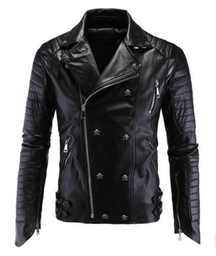 Fashion Men's Winter Leather Jackets Faux Jacket Korean Stylish Slim Fit Coats Men Moto Skull Suede Jacket For Men M-5xl