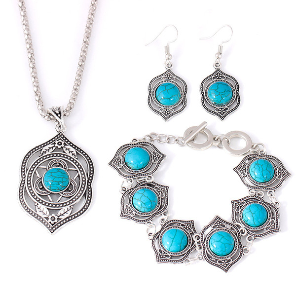 Vintage Bohemian Jewelry Set Collares Exaggerated Fashion Ethnic Chokers Necklaces Bracelets Earrings Turquoises Beads Party Jewelry Sets