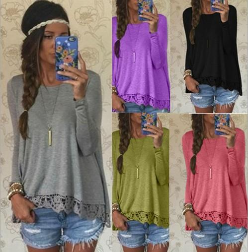 New ladies fashion long sleeve casual loose T-shirt tops blouse pullover women crew neck lace crochet casual tops shirt blouse S-4XL