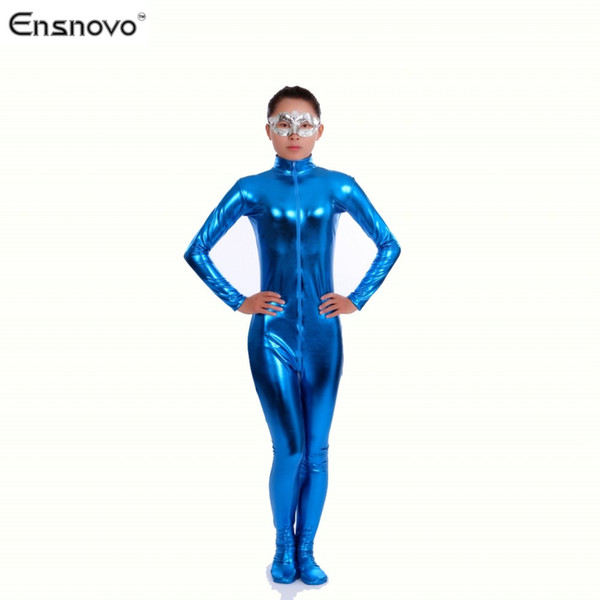 Ensnovo Nylon Lycra Shiny Metallic Turtleneck Bodysuit Blue Unitard Women Full Body Custom Skin Suit Cosplay Party Costume