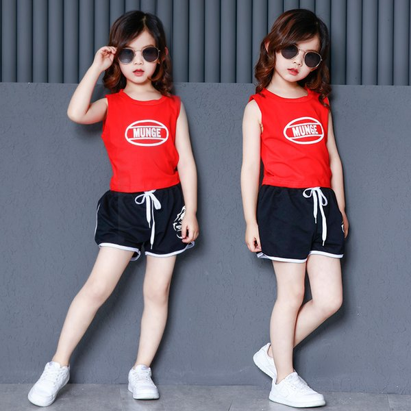 Girls Summer Ballroom Hip Hop Jazz Dance Competition Costume Tank Tops Shorts for Children Dancing Clothing Clothes Sports Wear