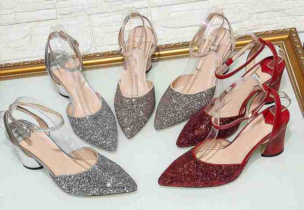 Luxury Brand Jc Womens Slingbacks Buckle Glitter Londdon High Heel Pumps Party Wedding Autumn Pointed Toes Shoes Chunky Heel Sandals SZ35-40