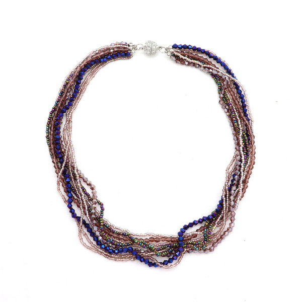 New Hight Quality Multilayer Color Crystal Necklace&Pendabts Magnetic Metal Ball Statenebt Necklace Women Men Girl Accessories