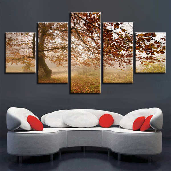 Canvas HD Prints Pictures Wall Art 5 Pieces Autumn Woods Tree Paintings Modular Scenery Poster Home Decor Framework Living Room