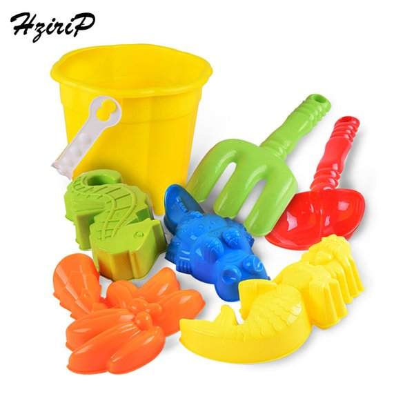 HziriP 7 Pieces Beach Toy Set Kids Sand Play Tool Summer Plastic Bucket Mold Shovel Outdoor Funny Classic Toys For Children Gift